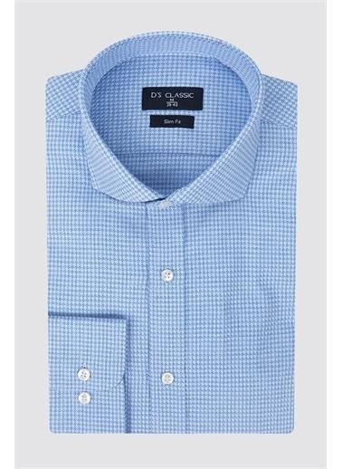 D'S Damat D'S Damat Dik Yaka Uzun Kol Slim Fit Desenli Erkek Armürlü Gömlek Mavi